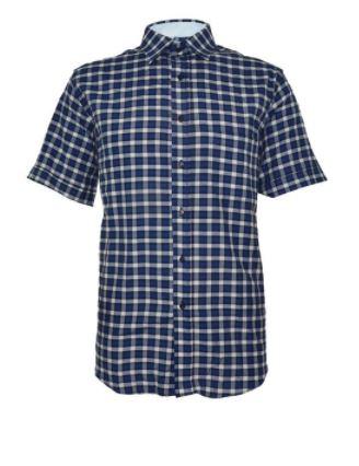Chemise courtes manches carrelée fond bleu
